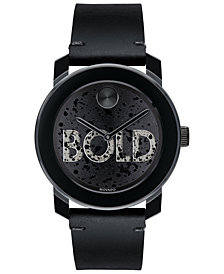 Movado Men's Swiss BOLD Black Leather Strap Watch 42mm