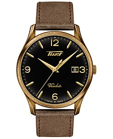 Men's Swiss Heritage Visodate Brown Leather Strap Watch 40mm
