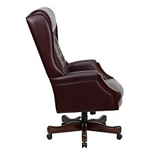 High Back Traditional Tufted Burgundy Leather Executive Swivel Chair With Arms