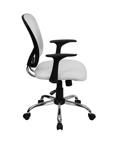 Flash Furniture Mid-Back White Mesh Swivel Task Chair With Chrome Base And Arms