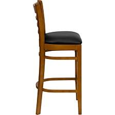 Hercules Series Ladder Back Cherry Wood Restaurant Barstool - Black Vinyl Seat
