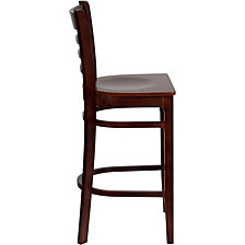 Hercules Series Ladder Back Mahogany Wood Restaurant Barstool