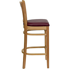 Hercules Series Vertical Slat Back Natural Wood Restaurant Barstool - Burgundy Vinyl Seat