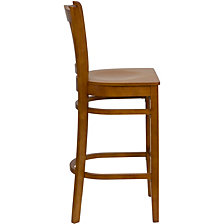 Hercules Series Vertical Slat Back Cherry Wood Restaurant Barstool