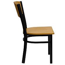 Hercules Series Black Circle Back Metal Restaurant Chair - Natural Wood Back & Seat