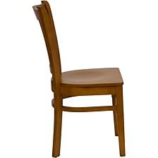 Hercules Series Vertical Slat Back Cherry Wood Restaurant Chair