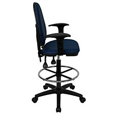 Mid-Back Navy Blue Fabric Multifunction Drafting Chair With Adjustable Lumbar Support And Adjustable Arms