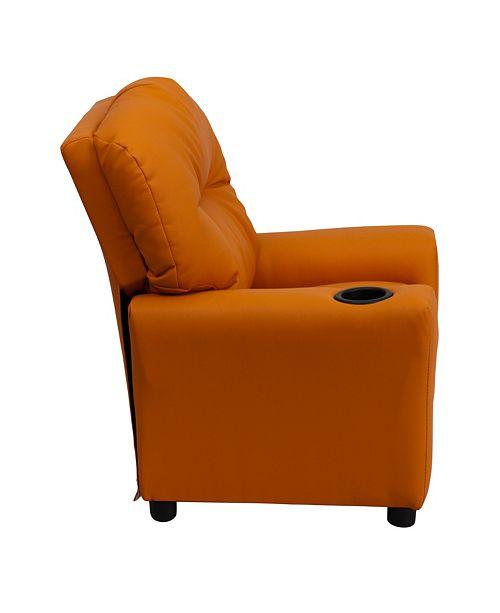 Flash Furniture Contemporary Orange Vinyl Kids Recliner With Cup Holder