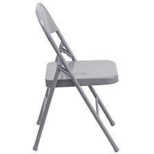 Hercules Series Triple Braced & Double-Hinged Gray Metal Folding Chair