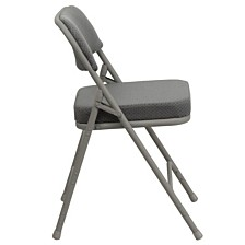 Hercules Series Premium Curved Triple Braced & Double-Hinged Gray Fabric Metal Folding Chair