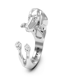 Long Hair Dachshund Hug Ring in Sterling Silver