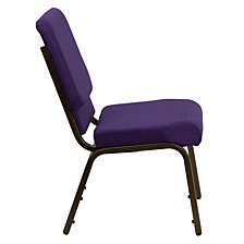 Hercules Series 18.5''W Stacking Church Chair In Royal Purple Fabric - Gold Vein Frame