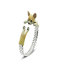 Chihuahua Adjustable Bracelet in Sterling Silver and Enamel