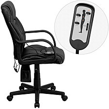 Mid-Back Massaging Black Leather Executive Swivel Chair With Arms
