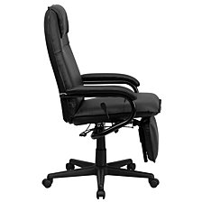 High Back Black Leather Executive Reclining Swivel Chair With Arms