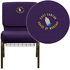 Embroidered Hercules Series 21''W Church Chair In Royal Purple Fabric With Cup Book Rack - Gold Vein Frame