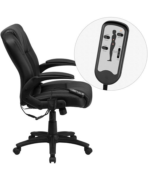 Flash Furniture Massaging Black Leather Executive Swivel Chair With Arms