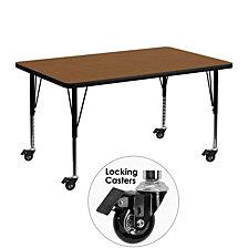 Mobile 30''W X 48''L Rectangular Oak Hp Laminate Activity Table - Height Adjustable Short Legs