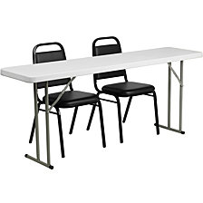 18'' X 72'' Plastic Folding Training Table Set With 2 Trapezoidal Back Stack Chairs