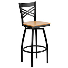 Hercules Series Black ''X'' Back Swivel Metal Barstool