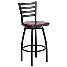 Hercules Series Black Ladder Back Swivel Metal Barstool