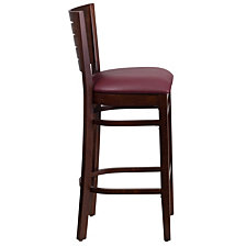 Darby Series Slat Back Walnut Wood Restaurant Barstool - Burgundy Vinyl Seat