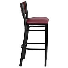 Hercules Series Black Cutout Back Metal Restaurant Barstool - Mahogany Wood Back, Burgundy Vinyl Seat