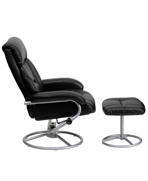 Marvelous Contemporary Black Leather Recliner And Ottoman With Metal Base Dailytribune Chair Design For Home Dailytribuneorg