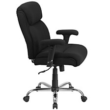 Hercules Series Big & Tall 400 Lb. Rated Black Fabric Swivel Task Chair With Adjustable Arms