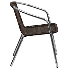 Commercial Aluminum And Dark Brown Rattan Indoor-Outdoor Restaurant Stack Chair