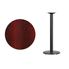 30'' Round Mahogany Laminate Table Top With 18'' Round Bar Height Table Base