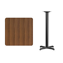 30'' Square Walnut Laminate Table Top With 22'' X 22'' Bar Height Table Base