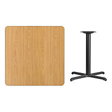 36'' Square Natural Laminate Table Top With 30'' X 30'' Table Height Base