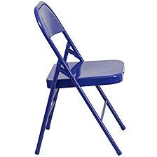 Hercules Colorburst Series Cobalt Blue Triple Braced & Double-Hinged Metal Folding Chair
