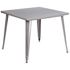 35.5'' Square Silver Metal Indoor-Outdoor Table