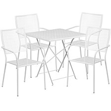 28'' Square White Indoor-Outdoor Steel Folding Patio Table Set With 4 Square Back Chairs