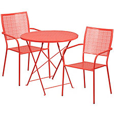 30'' Round Coral Indoor-Outdoor Steel Folding Patio Table Set With 2 Square Back Chairs