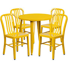 30'' Round Yellow Metal Indoor-Outdoor Table Set With 4 Vertical Slat Back Chairs