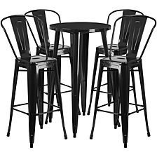 24'' Round Black Metal Indoor-Outdoor Bar Table Set With 4 Cafe Stools