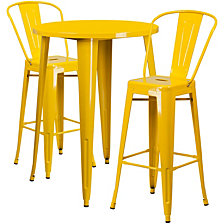30'' Round Yellow Metal Indoor-Outdoor Bar Table Set With 2 Cafe Stools