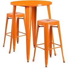 30'' Round Orange Metal Indoor-Outdoor Bar Table Set With 2 Square Seat Backless Stools