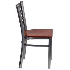 Hercules Series Clear Coated ''X'' Back Metal Restaurant Chair - Cherry Wood Seat
