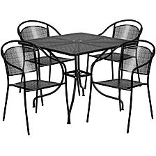 35.5'' Square Black Indoor-Outdoor Steel Patio Table Set With 4 Round Back Chairs