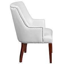 Hercules Sculpted Comfort Series White Leather Side Reception Chair