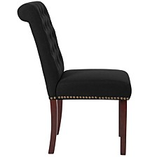 Hercules Series Black Fabric Parsons Chair With Rolled Back, Accent Nail Trim And Walnut Finish