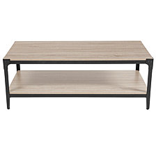 Northvale Collection Sonoma Oak Wood Finish Coffee Table With Black Metal Legs