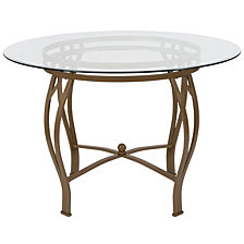 Syracuse 45'' Round Glass Dining Table With Matte Gold Metal Frame
