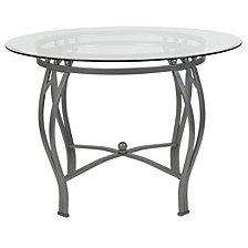 Syracuse 42'' Round Glass Dining Table With Silver Metal Frame