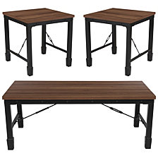 Brentwood Collection 3 Piece Coffee And End Table Set In Rustic Walnut Finish And Black Metal Frames