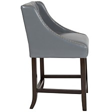 "Carmel Series 24"" High Transitional Tufted Walnut Counter Height Stool With Accent Nail Trim In Light Gray Leather"